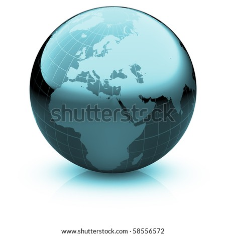 Shiny globe marble with highly detailed continents and geographical grid  facing Europe - stock photo