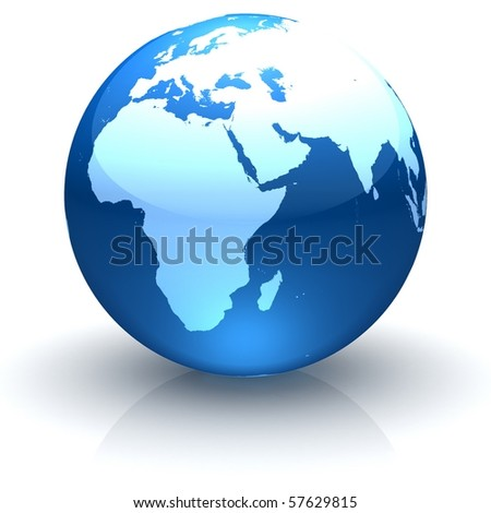 Shiny globe marble with highly detailed continents facing Europe, Africa and Near East - stock photo
