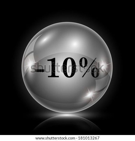 Shiny glossy icon - glass ball on black background - stock photo