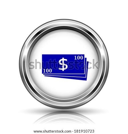 Shiny glossy icon - internet metallic button - stock photo