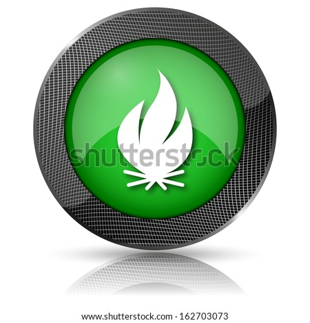 Shiny glossy icon with white design on green background - stock photo