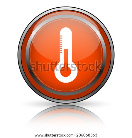 Shiny glossy orange icon on white background. - stock photo