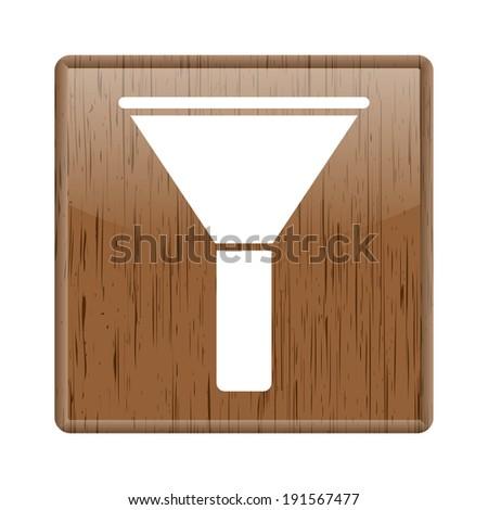Shiny glossy wooden  icon on white background - stock photo