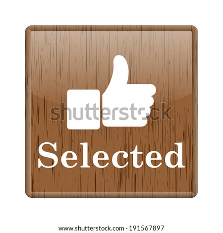 Shiny glossy wooden  icon on white background - stock photo