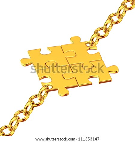 Shiny gold chains with the collected puzzles - stock photo