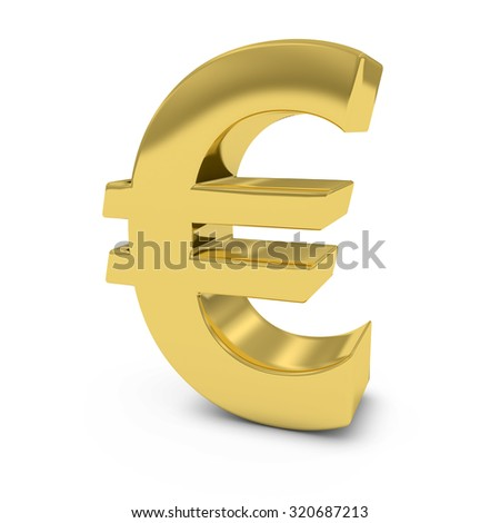Shiny Gold Euro Symbol Isolated on White Background - stock photo