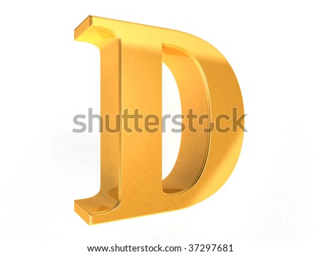 shiny gold letter D on a white  background - 3d rendering - stock photo