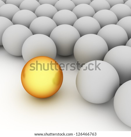Shiny golden ball with grey spheres as abstract background - stock photo