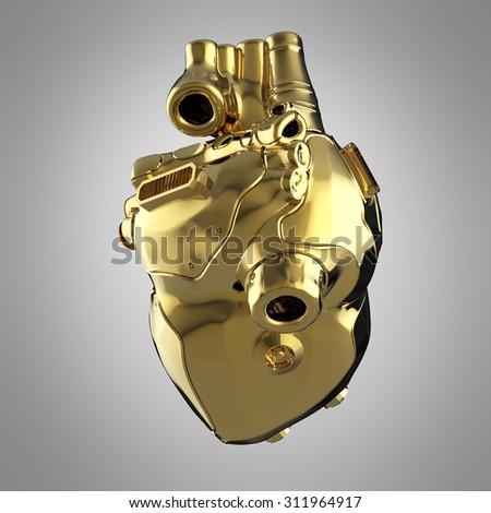 Shiny golden cyborg techno heart bottom view - stock photo