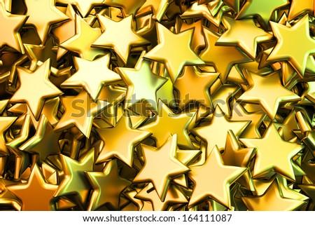 Shiny golden stars background illustration - stock photo