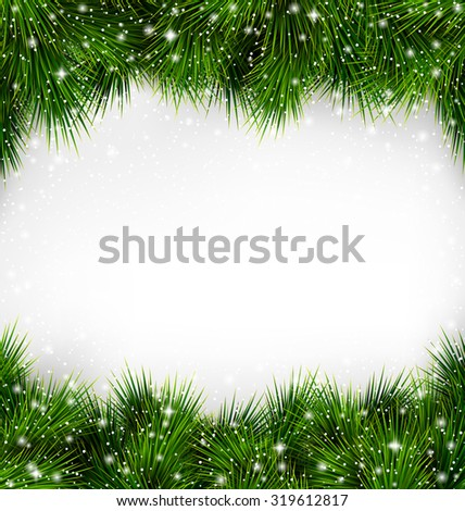Shiny Green Christmas Tree Pine Branches Like Frame with Snowfall on White Background - stock photo