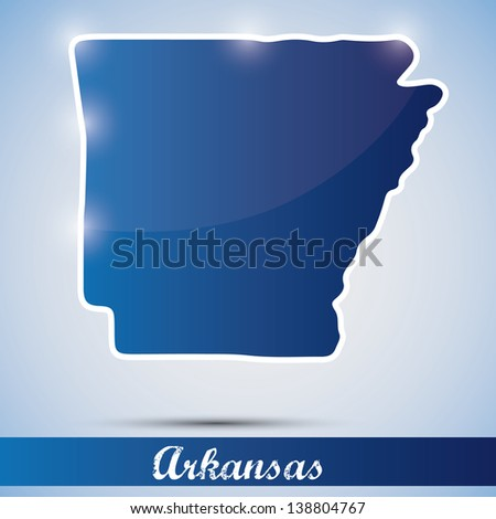 shiny icon in form of Arkansas state, USA - stock photo