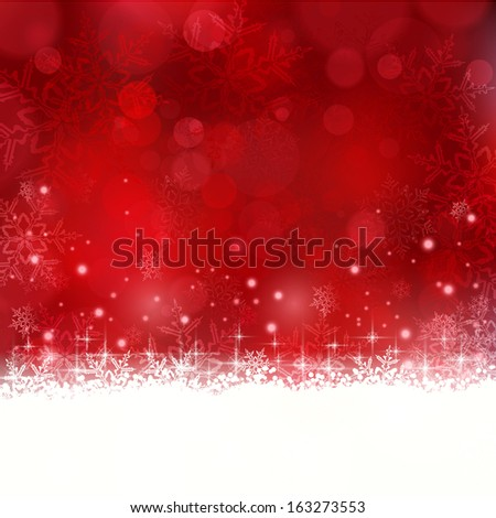 Shiny light effects with blurry lights and glittering snowflakes in shades of red and a wavy contour. Great for the festive season of Christmas to come.  - stock photo
