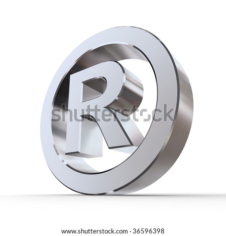 shiny metal registered trademark sign - silver/chrome style - low camera angle - stock photo