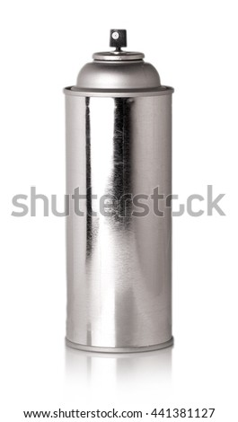 shiny metallic bottle with sprayer carved on a white background - stock photo