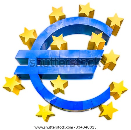 Shiny metallic 3D Euro sign symbol in blue color with golden stars isolated on white background - stock photo
