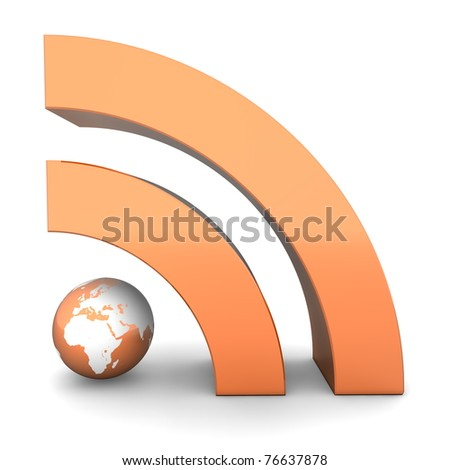 shiny metallic orange RSS symbol rendered in 3D on white ground - front view - stock photo