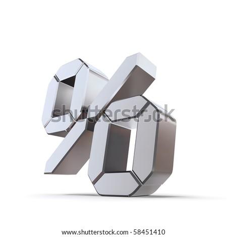 shiny metallic percentage symbol - chrome and silver lcd style - stock photo