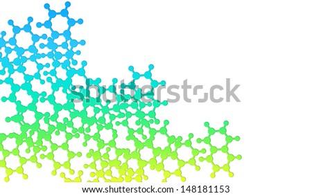 shiny molecular shape isolated on white - stock photo