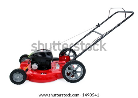 Shiny new red lawn mower with clipping path. - stock photo