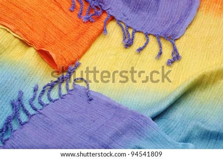 shiny oriental vibrant woolen texture close up - stock photo