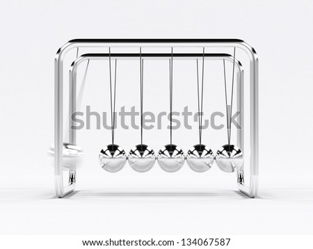 Shiny pendulum in motion 3d render - stock photo