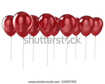 Shiny red balloons isolated on a white background. - stock photo