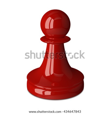 Shiny red chess pawn isolated on white. 3D rendering - stock photo