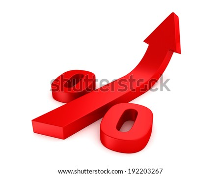 shiny red percent symbol with growing up arrow. business concept 3d render illustration - stock photo