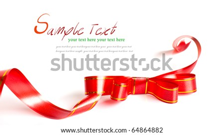 Shiny red ribbon bow on white background with copy space. - stock photo