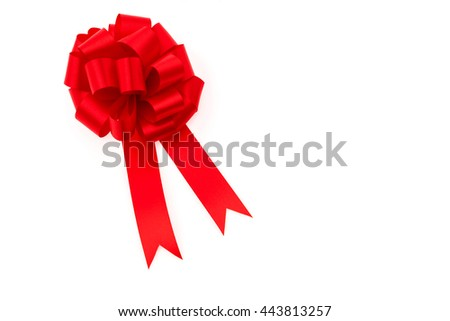 Shiny red ribbon on white background with copy space - stock photo