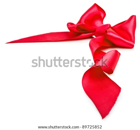 Shiny red satin ribbon on white background with copy space. Macro with extremely shallow dof - stock photo