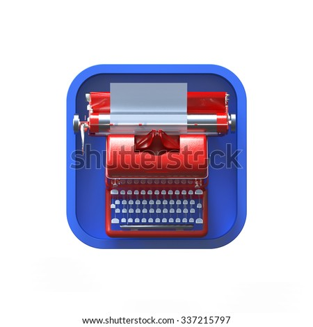 shiny red vintage typewriter with sheet of paper on rounded square background.High resolution 3d render application icon for text editor, messenger copywriting storytelling user interface element - stock photo