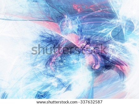 Shiny smoke in blue and pink color. Abstract futuristic dynamic background with lighting effect for creative graphic design. Icy winter pattern. Fractal artwork - stock photo