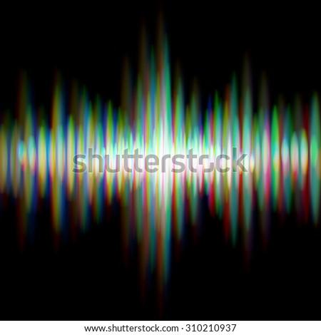 Shiny sound waveform with vibrating light aberrations - stock photo