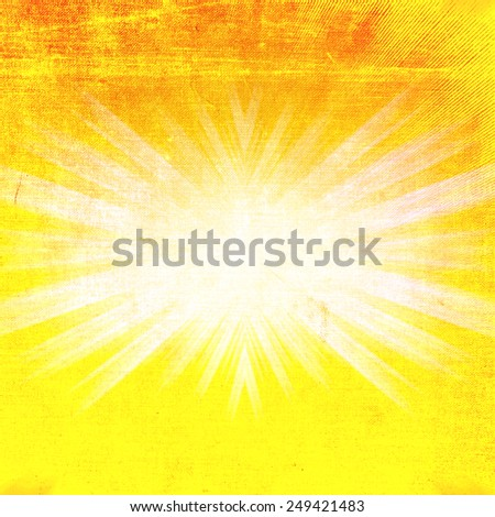 Shiny summer sun, abstract natural concept background with grunge style distressed effect. - stock photo