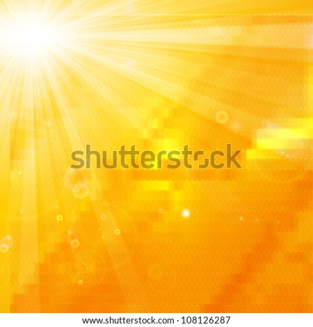shiny sun artistic summer background - stock photo