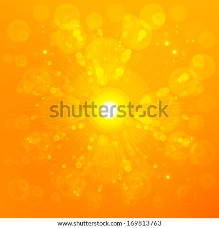 Shiny sunbeams abstract summer background - stock photo