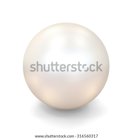 Shiny White Pearl isolated on white background - stock photo
