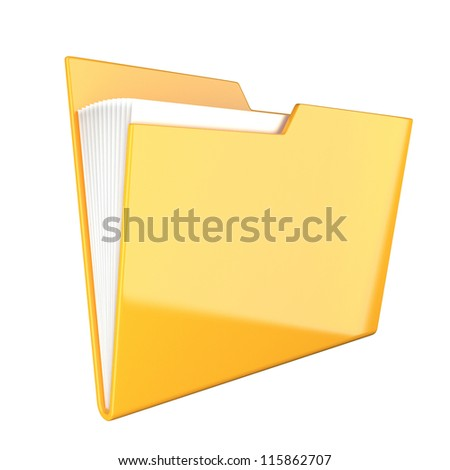 Shiny yellow folder icon isolated at white - stock photo