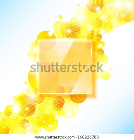 Shiny yellow geometric background with glass panel. - stock photo