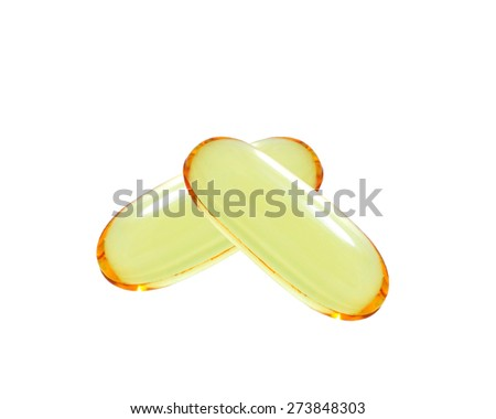 shiny yellow vitamin omega3 fish oil capsule isolated on white background. - stock photo