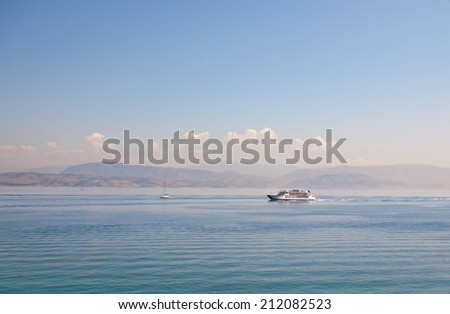 ship at the sea, Greece - stock photo