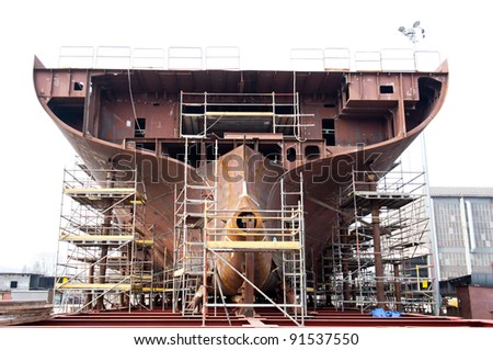 Ship building - Shipyard of Gdansk, Poland. - stock photo