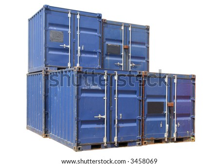Ship cargo containers, isolated on a white background. - stock photo