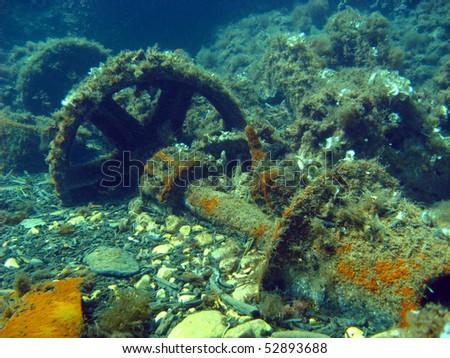 Ship Component in Cala Tramontana (Levante Wreck). - stock photo