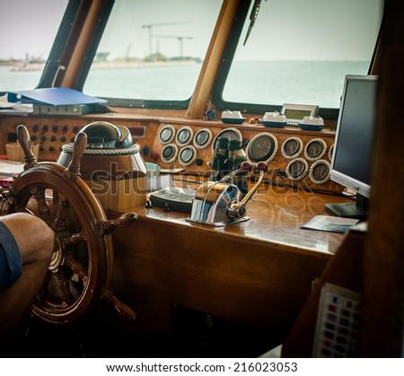 Ship control bridge  - stock photo