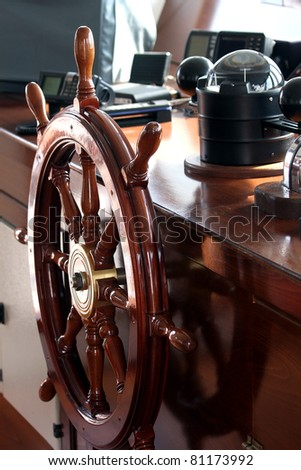 Ship control bridge - stock photo