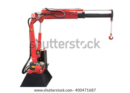 Ship deck crane to load boats in a small fishing port isolated on white background with clipping path - stock photo