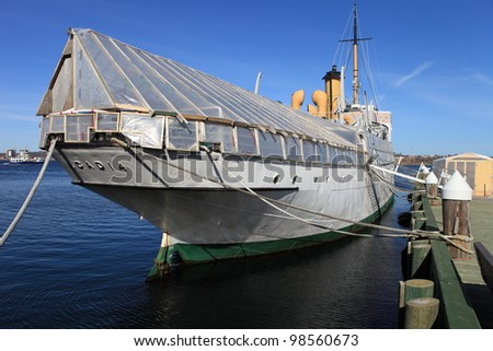 Ship docked for repair and restoration - stock photo